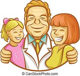 szczęśliwy, dziewczyna, macierz, tulenie, doktor