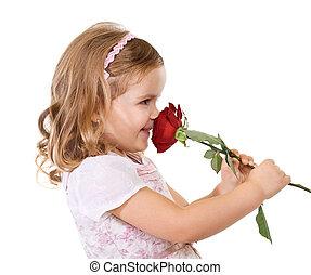 szczęśliwy, dziewczyna, pachnący, róża