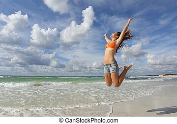 szczęśliwy, dziewczyna, skokowy, plażowe wakacje