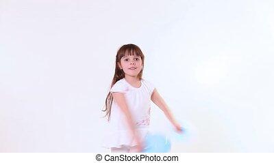 szczęśliwy, dziewczyna, taniec, dziecko