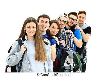 szczęśliwy, grupa, młodzież