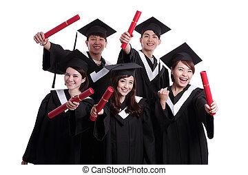 szczęśliwy, grupa, student, absolwenci