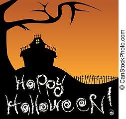 szczęśliwy, halloween, uczęszczany dom