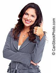 szczęśliwy, handlowy, woman., success.