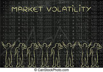 szczęśliwy, i, smutny, kupcy, okładzina, finansowy, dane, z, tekst, targ, volatility