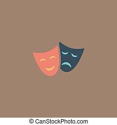 szczęśliwy, ikona, teatr, maski, smutny