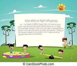 szczęśliwy, interpretacja, dzieci, ilustracja, plac gier i zabaw