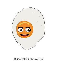 szczęśliwy, jajko, emote, odizolowany