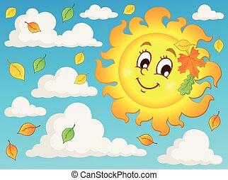 szczęśliwy, jesień, słońce, temat