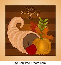szczęśliwy, karta, dzień, dziękczynienie