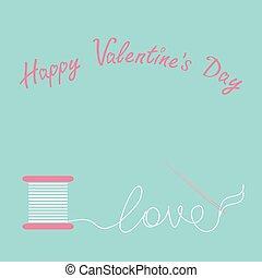 szczęśliwy, karta, dzień, szpulka, desigh, nitka, płaski, list miłosny, igła