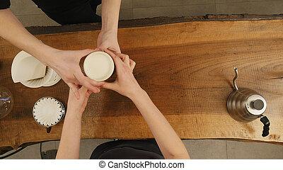 szczęśliwy, kawa, służąc, kelnerka, kantor