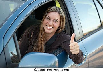 szczęśliwy, kierowca