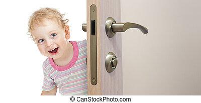szczęśliwy, koźlę, za, drzwi