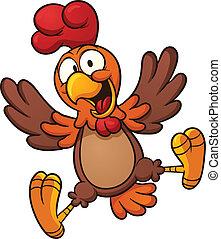 szczęśliwy, kurczak