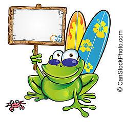 szczęśliwy, lato, żaba