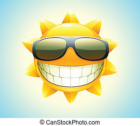 szczęśliwy, lato, słońce
