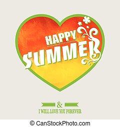 szczęśliwy, lato, tło.