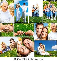 szczęśliwy, ludzie, collage.