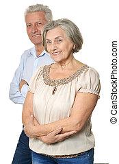 szczęśliwy, ludzie, starszy