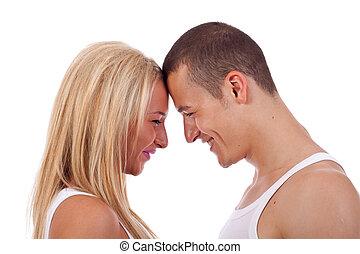 szczęśliwy, młoda para