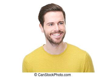 szczęśliwy, młody, portret, człowiek, uśmiechanie się