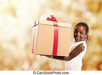 szczęśliwy, mała dziewczyna, z, niejaki, gwiazdkowy dar