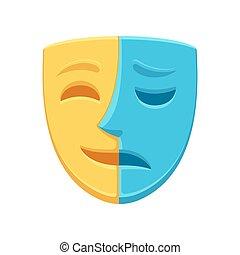 szczęśliwy, maska, smutny