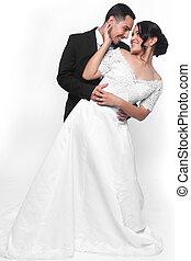 szczęśliwy, miłość, poślubna para