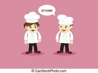 szczęśliwy, mistrz kucharski, asystent, wektor, rysunek, ...