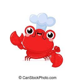 szczęśliwy, mistrz kucharski, sprytny, kapelusz, uśmiechanie się, homar