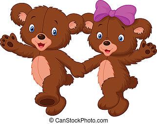 szczęśliwy, niedźwiedź, rysunek, para