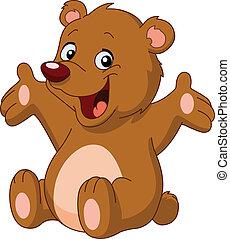 szczęśliwy, niedźwiedź, teddy