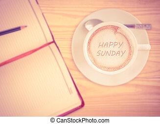 szczęśliwy, niedziela, na, filiżanka do kawy, z, vinage,...