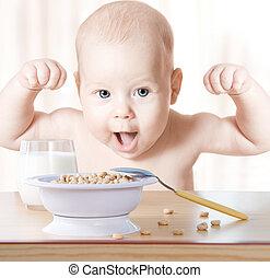 szczęśliwy, niemowlę, meal:, zboże, i, milk., concept:,...
