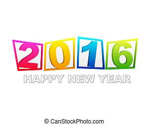 szczęśliwy nowy rok, 2016, w, płaski, barwny, tabletki
