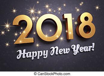 szczęśliwy nowy rok, 2018, powitanie karta