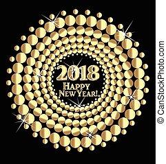 szczęśliwy nowy rok, 2018, złoty, tło