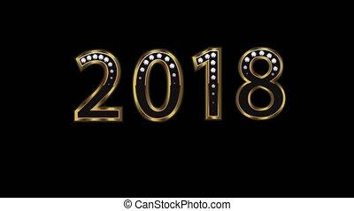 szczęśliwy nowy rok, 2018, z, barwny, fajerwerki, video,...