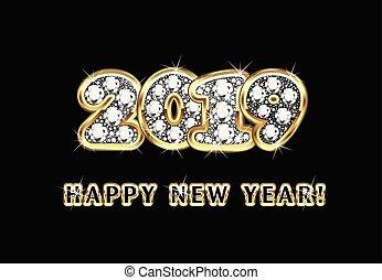 szczęśliwy nowy rok, 2019, złoty, tło, wektor