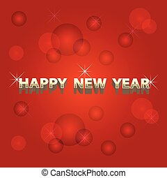 szczęśliwy nowy rok, złoty, i, czerwone tło
