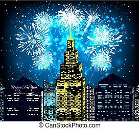 szczęśliwy nowy rok, z, fajerwerk, miasto