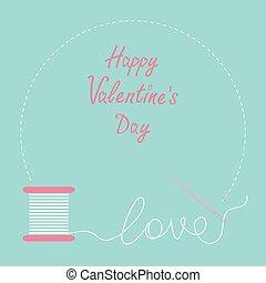 szczęśliwy, płaski, list miłosny, karta, igła, nitka, dzień, desigh, szpulka, ułożyć, okrągły