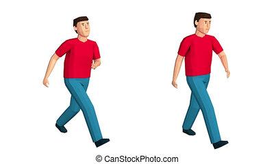 szczęśliwy, pieszy., poly, niski, 3d, walks., człowiek