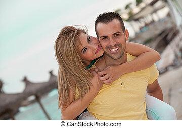 szczęśliwy, piggyback, para, honeymoon.