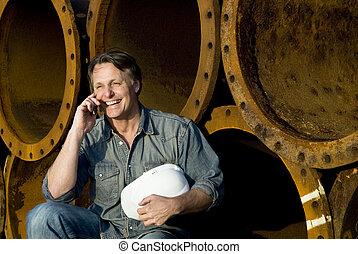 szczęśliwy, pracownik, zbudowanie