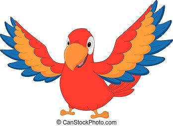szczęśliwy ptaszek, rysunek, ara