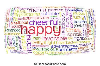 szczęśliwy, radosny, słowo, chmura