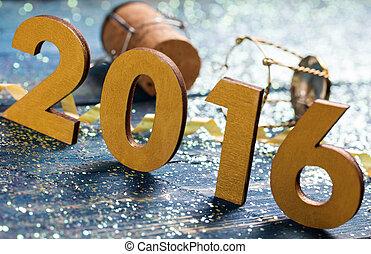 szczęśliwy, rok, nowy, 2016