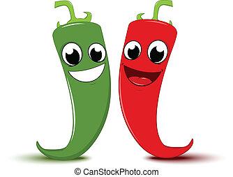 szczęśliwy, rysunek, czerwona i zieleń, chili